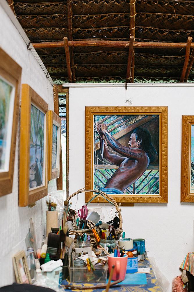 An artists work hangs in her studio hut