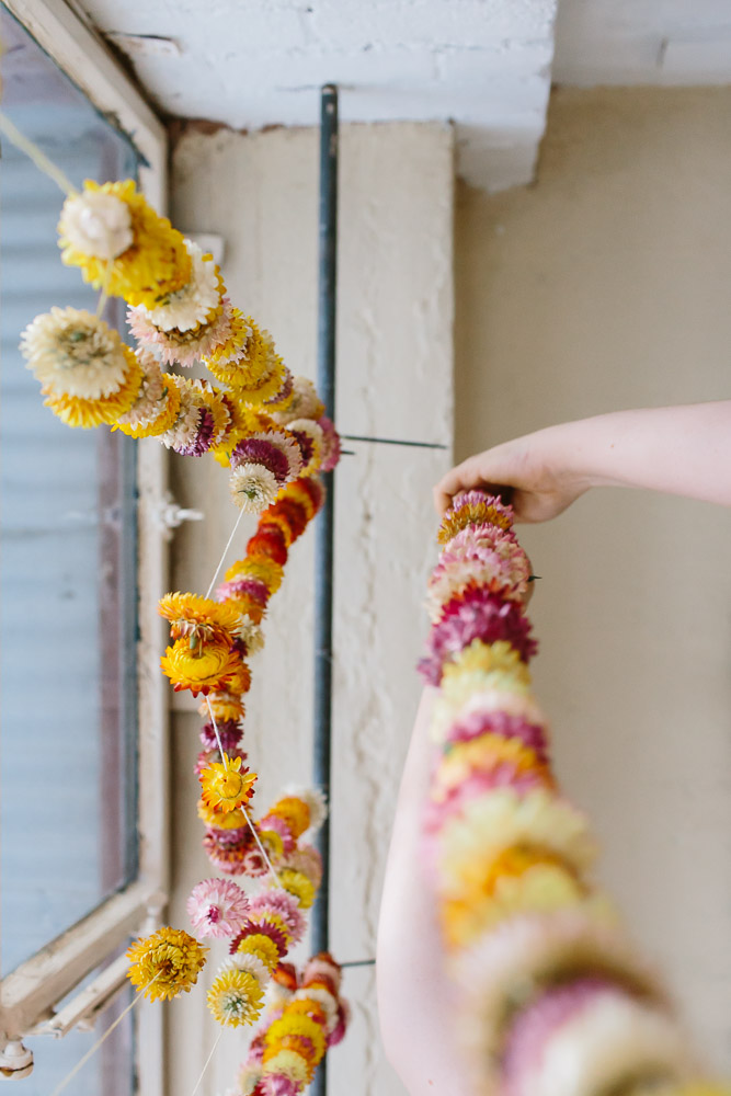 Hanging strawflower garlands