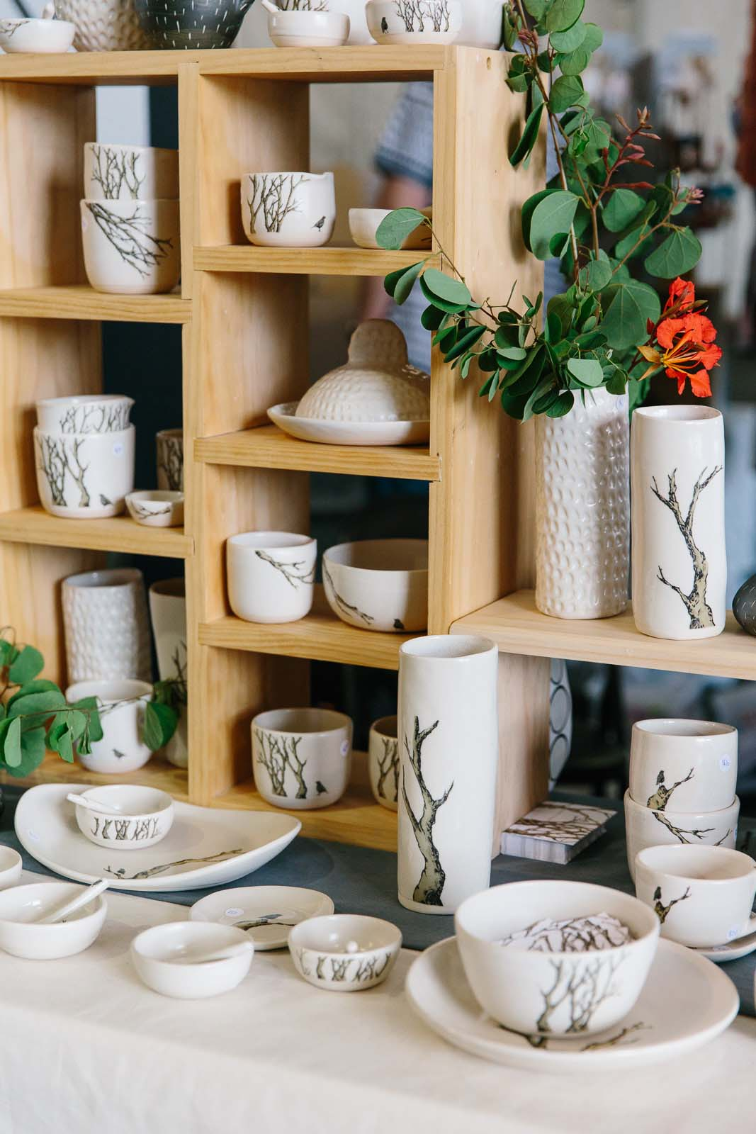 Ceramics stall set up