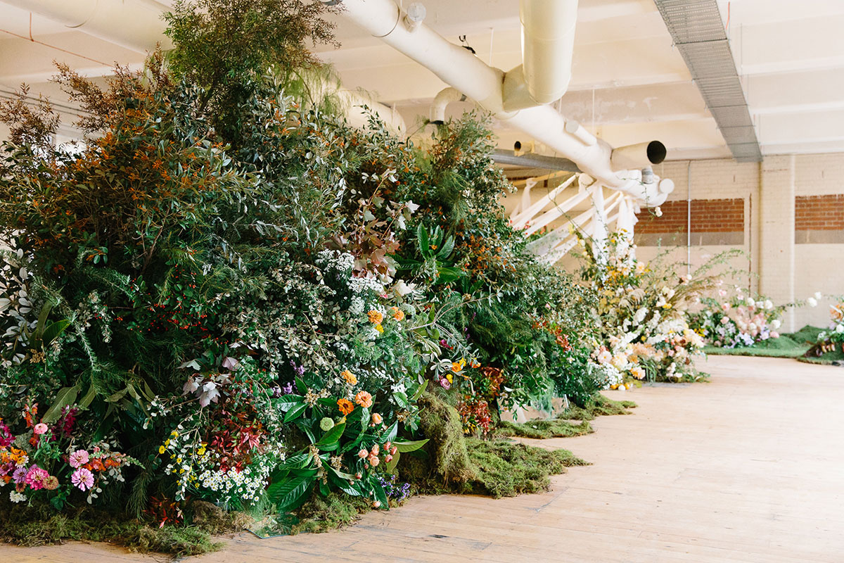 Large scale floral installation by Flos Botanical Studio using local natives and seasonal flowers