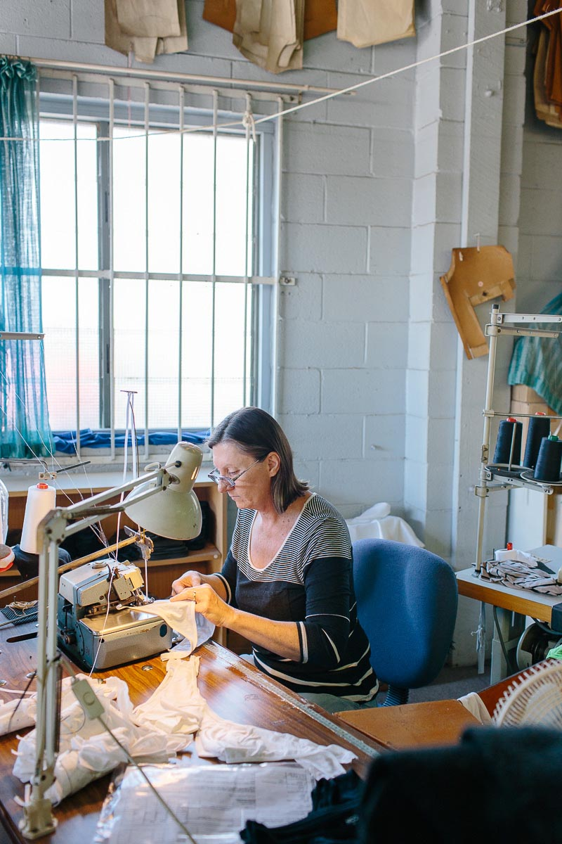 Garment maker working on completing modal underwear for Brisbane-based label NICO