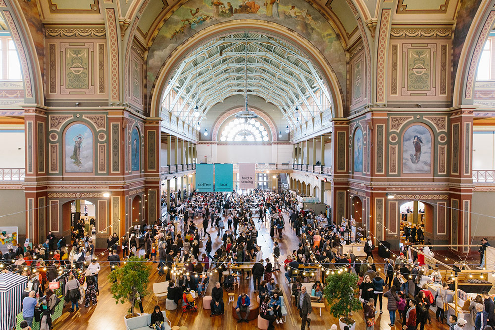 Inside the Royal Exhibition Building in Melbourne full of shoppers for the Finders Keepers Market