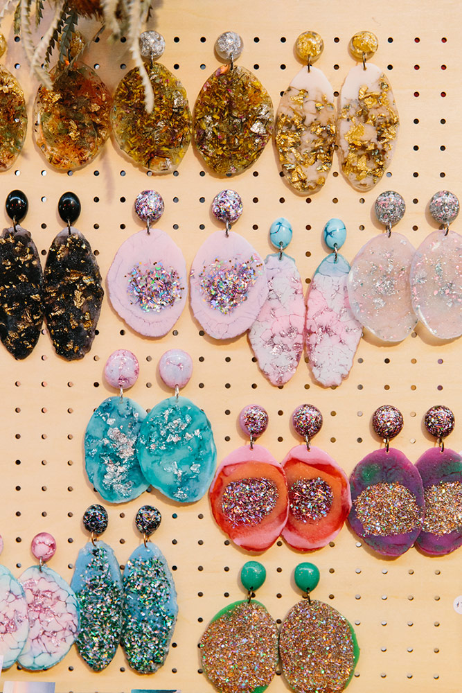 Bio-resin earrings by Nanna Woo