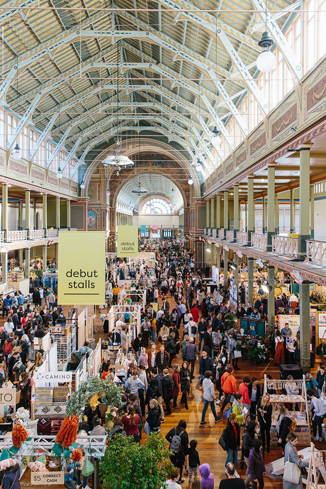 Crowds from above at the Finders Keepers Market at Royal Exhibition Building Melbourne