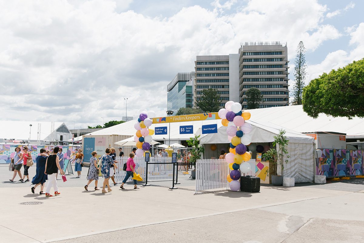The Finders Keepers Market entrance at Brisbane Showgrounds on a sunny Saturday