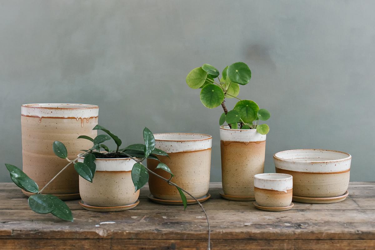 Ceramic planters in Leaf and Thread signature desert glaze