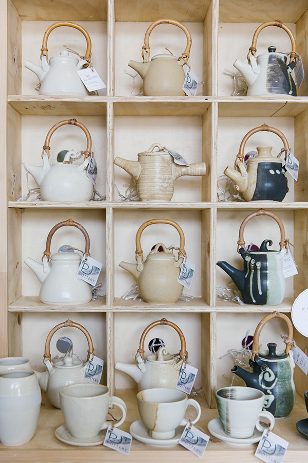 Handmade teapots on display