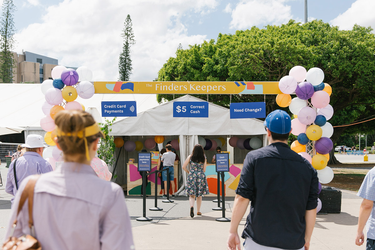 Colourful entrance to The Finders Keepers Market at Brisbane Showgrounds