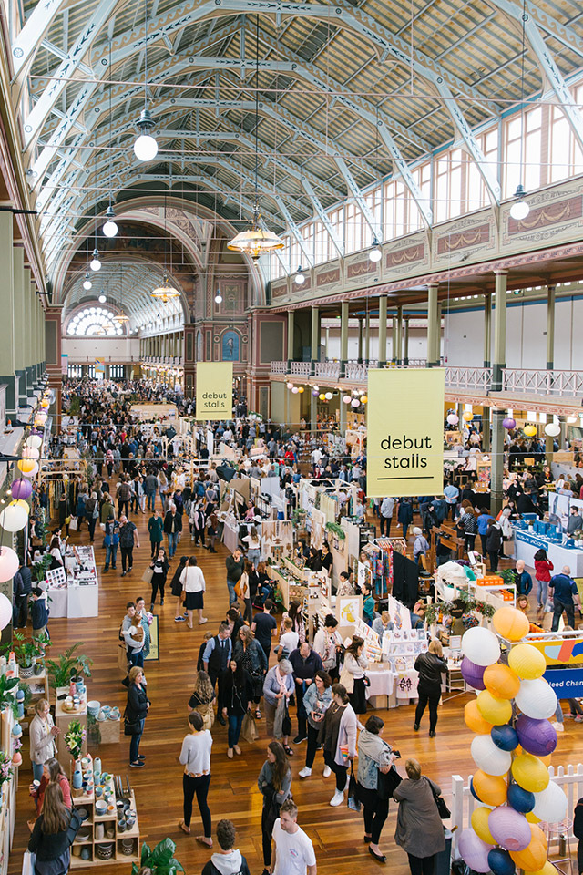 Birds-eye view of the Finders Keepers Market at the Royal Exhibition Building