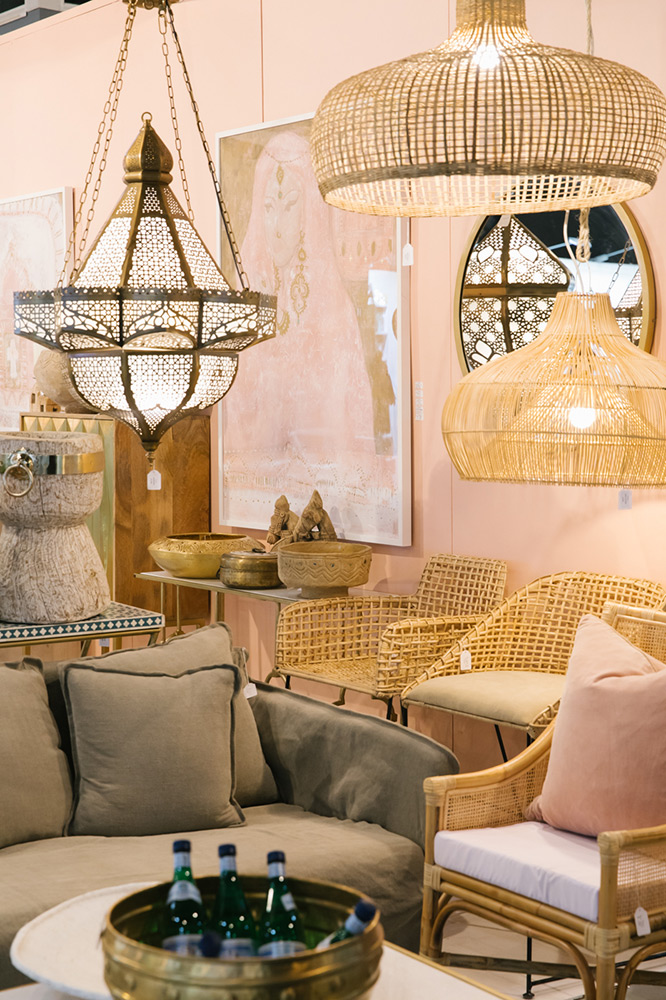 Trade show exhibitor stall styled as a bohemian living room