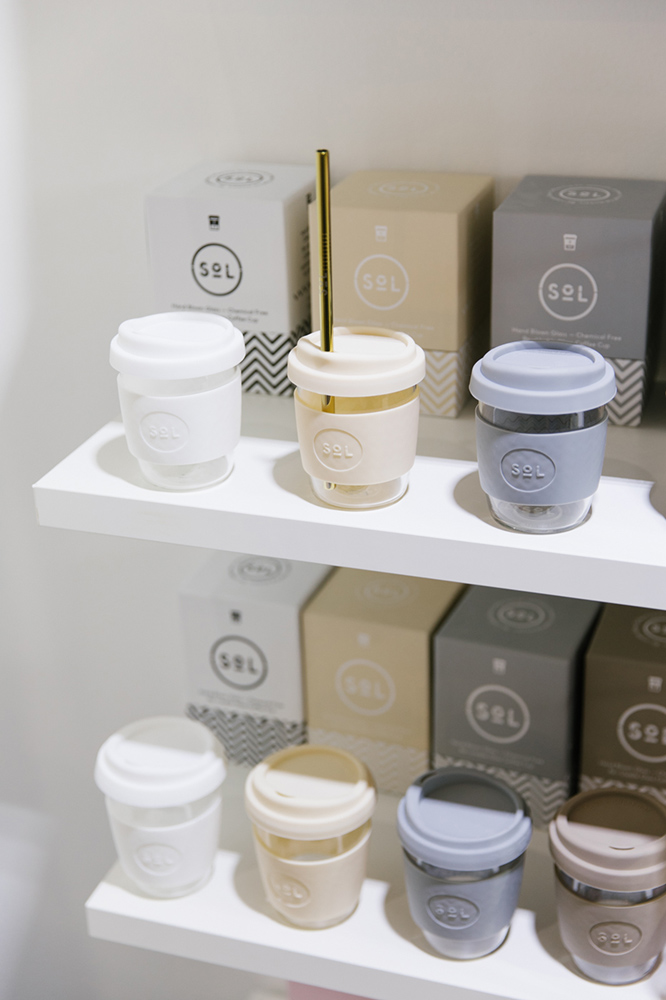 Sol reusable coffee cups on display in neutral colours