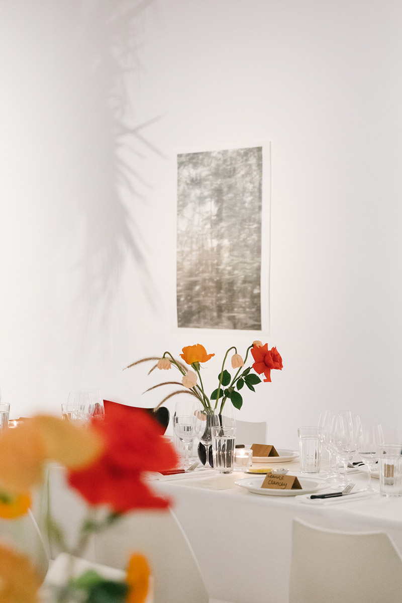 Scarf dinner setting in Arc One Gallery, Melbourne