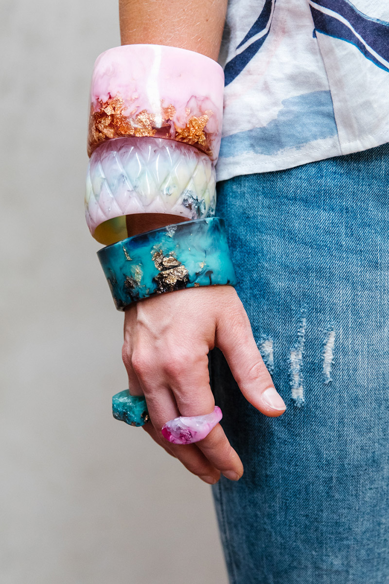 Handmade resin bangles in pinks and blues