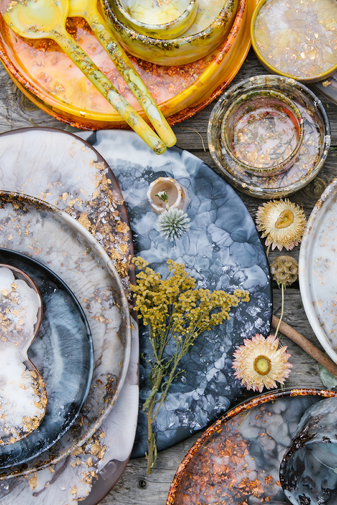 Flat lay of autumnal tableware