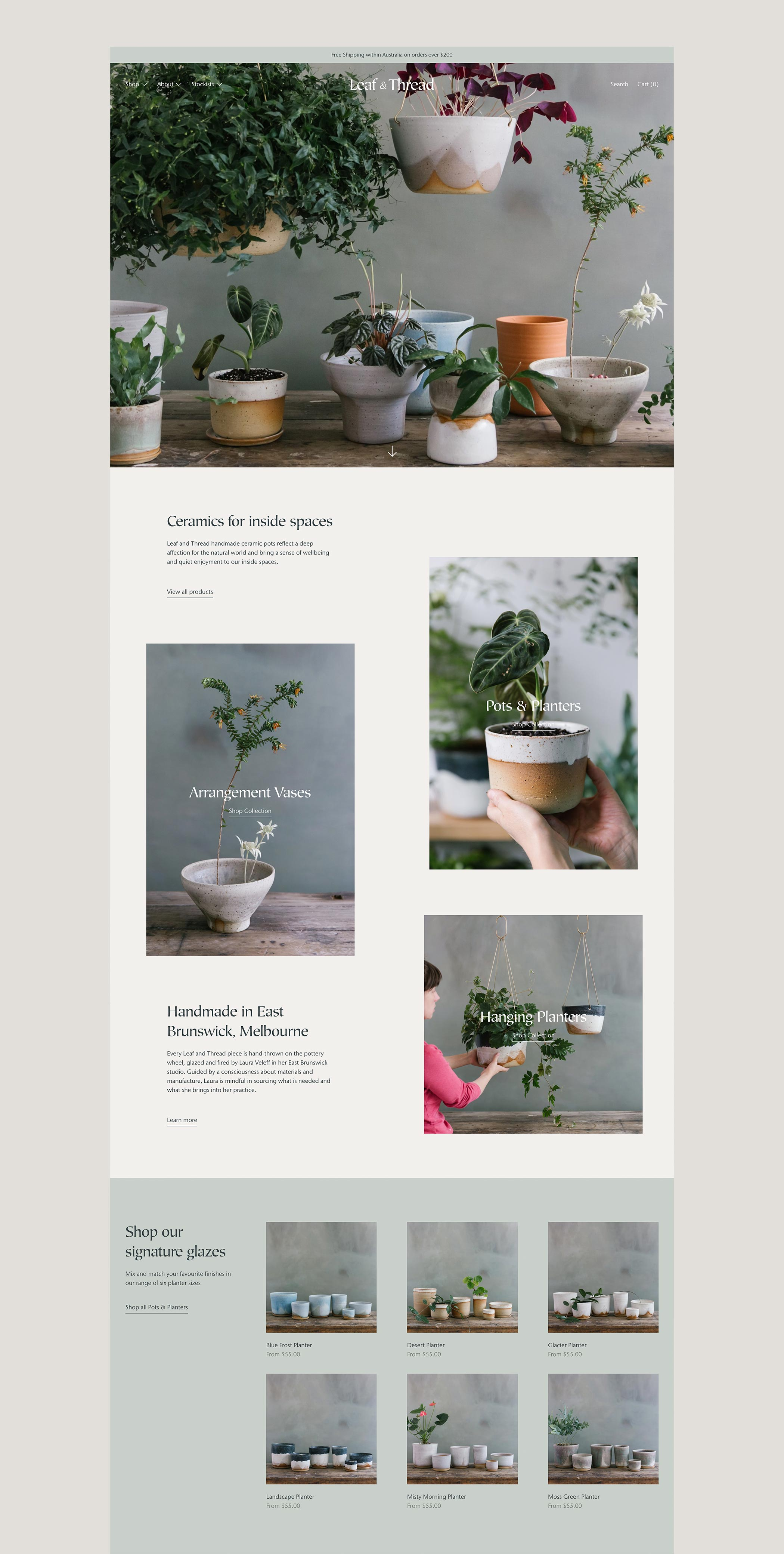Shopify web design for Leaf and Thread Ceramics made in Melbourne