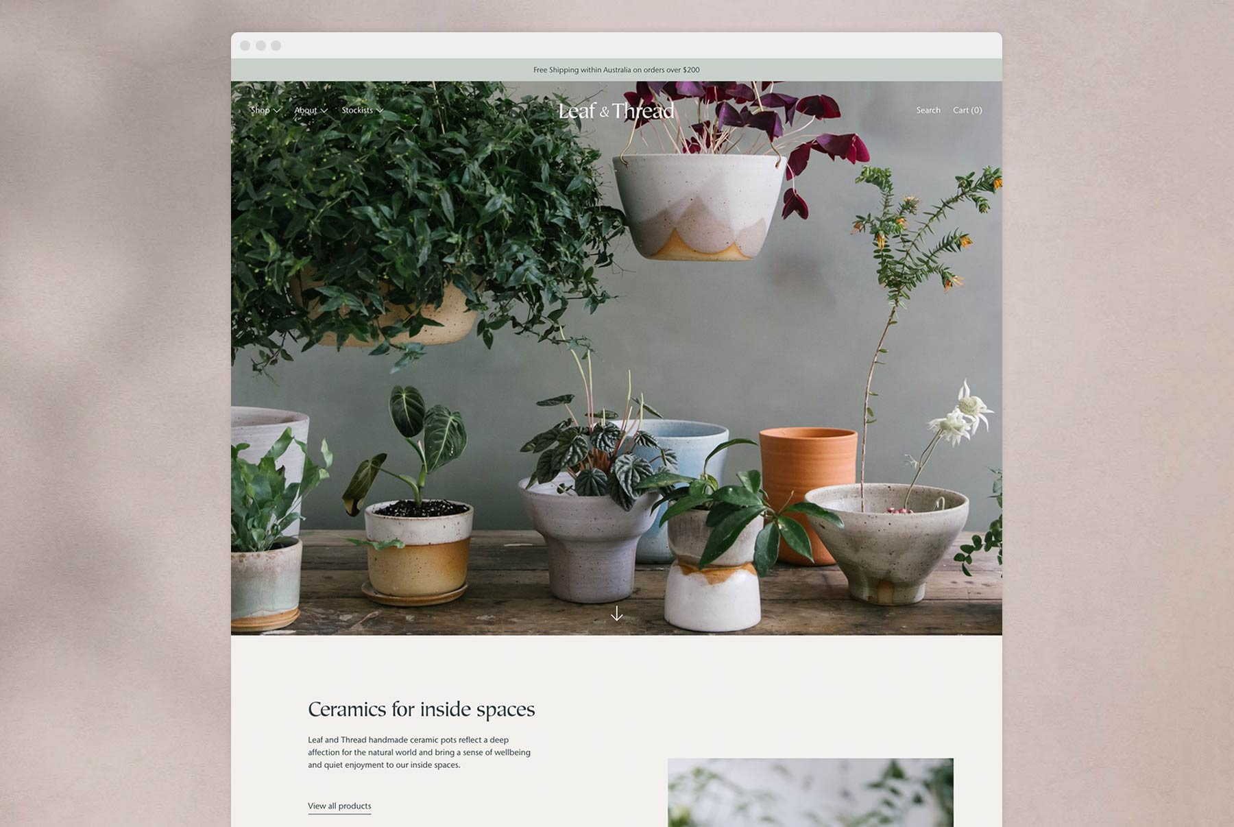 Responsive ecommerce web design for Leaf and Thread Ceramics