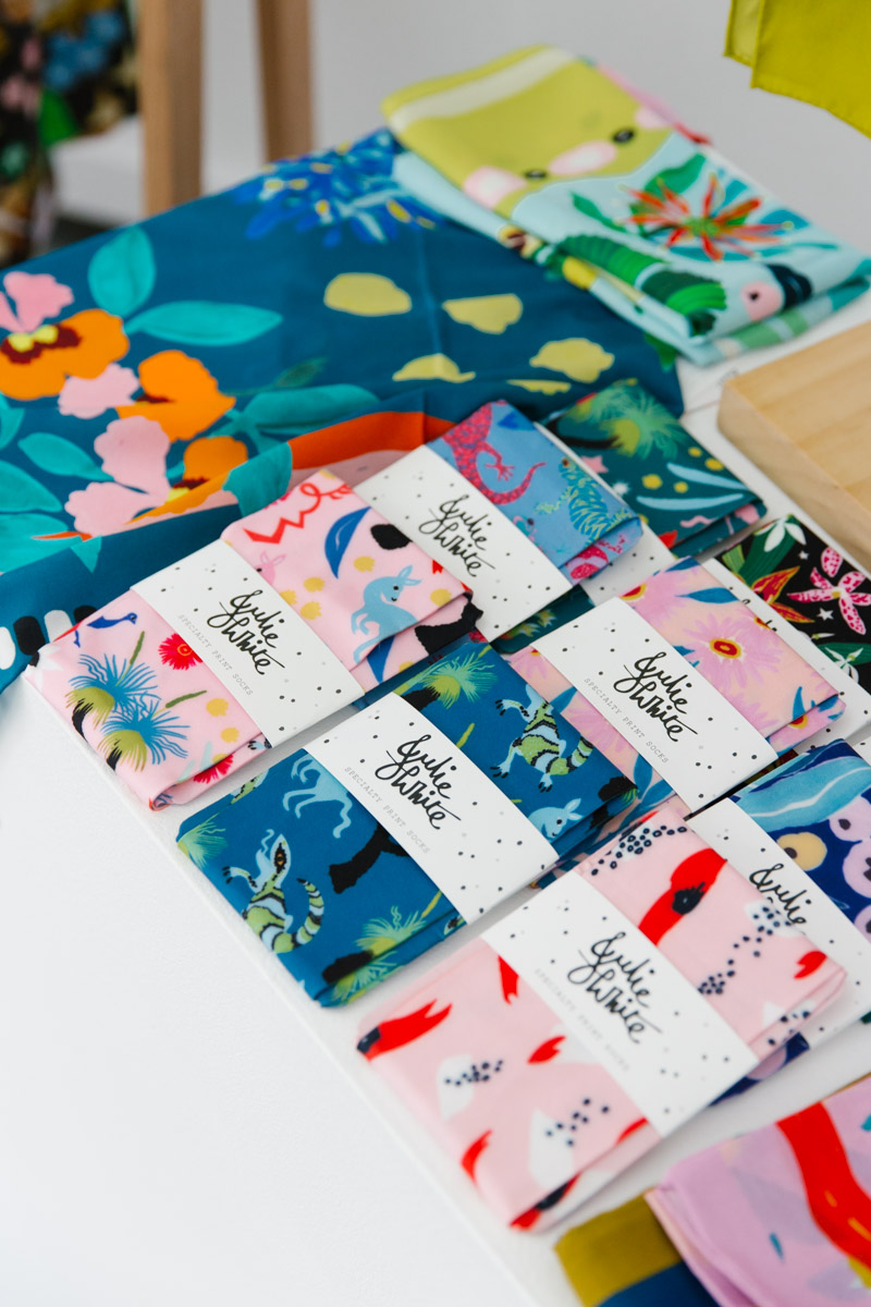 Julia White colourful printed socks
