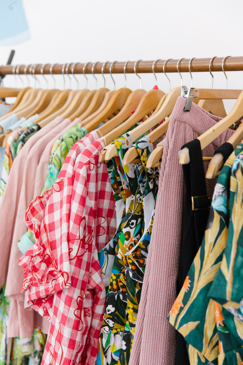 Rack of locally Melbourne made ethical fashion
