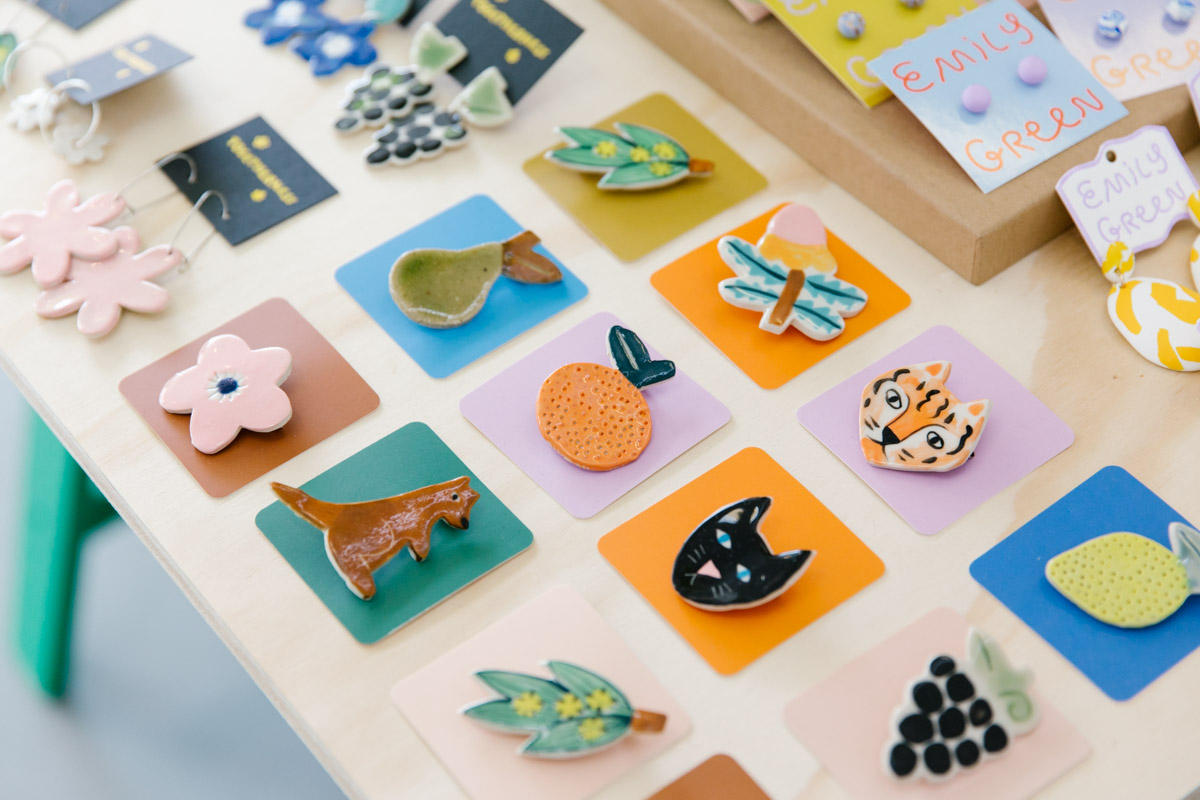 Handmade and hand painted ceramic brooches by Togetherness Design