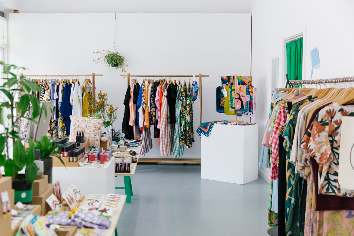 Shop interior with locally made fashion and gifts