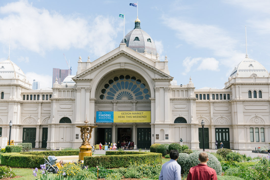 People gather outside the Royal Exhibition Building in Carlton for The Finders Keepers Market in Melbourne 2019