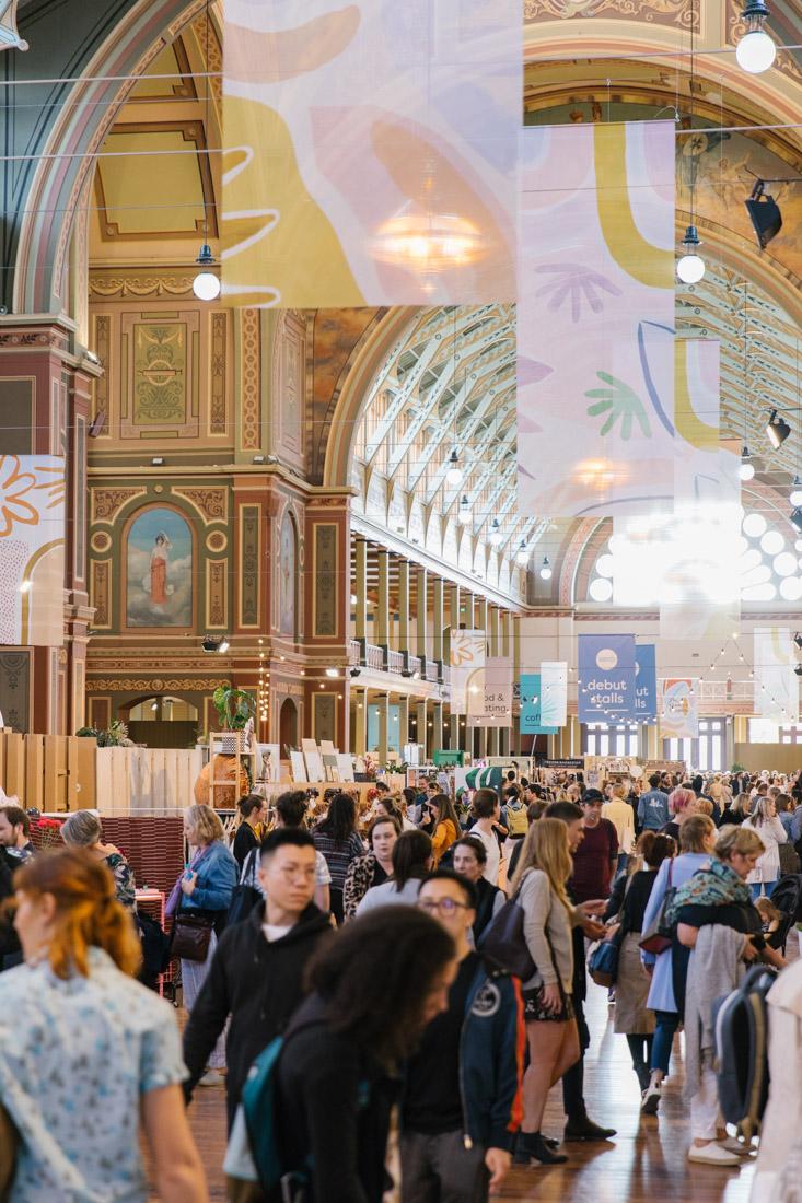 Buzzling market event in the Royal Exhibition Building, Carlton, Melbourne