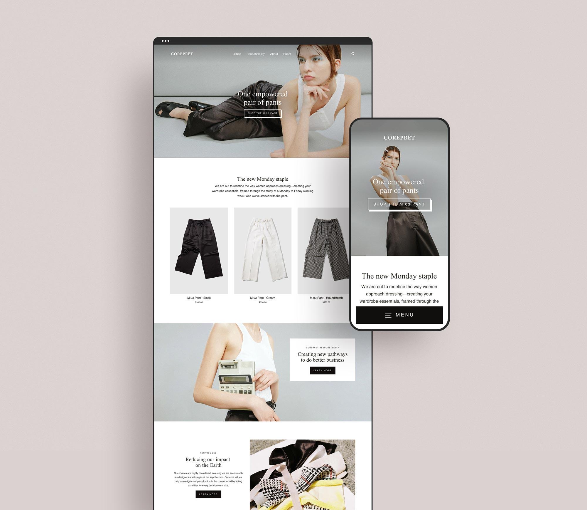 Responsive website design on Shopify for Melbourne fashion label Corepret